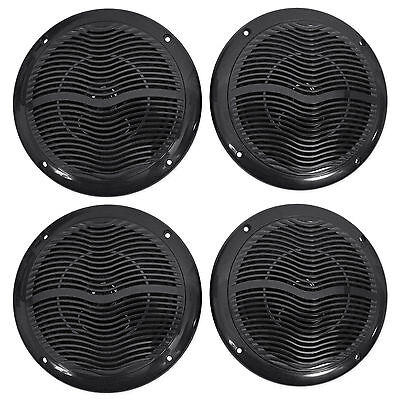 "(4) Rockville RMC65B 6.5"" 1200 Watt Waterproof Marine Boat Speakers 2-Way Black"