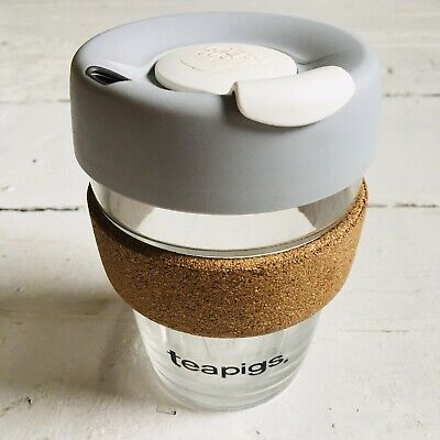 'KeepCup' reusable coffee cup. Glass. Grey lid. Cork band. Flask. 340ml. 12oz.