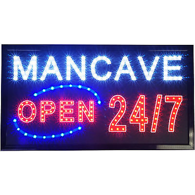 Large 24x13 Bright Mancave Animated LED Open 24/7 neon Store Shop Bar Light Sign