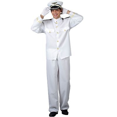 Naval Officer Navy Army Captain Uniform Military Adults Mens Fancy Dress - Navy Captain Uniform Costume