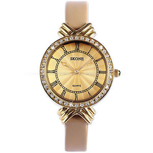 New-SKONE-Luxury-Bling-Crystal-Slim-Bracelet-Bangle-Lady-Womens-Wrist-Watch-Gold