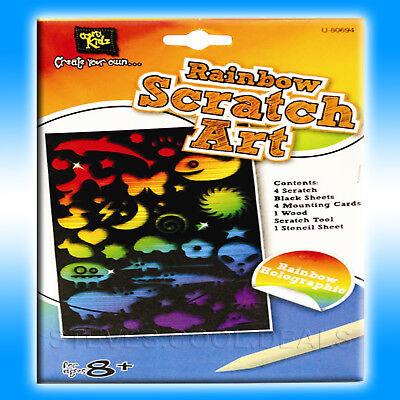 Scratch Art Engraving Set pre-printed black sheets Scratching RAINBOW Designs (Scratch Art Designs)