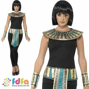 EGYPTIAN KIT GOLD  COLLAR CUFFS & BELT ONE SIZE ladies womens fancy dress