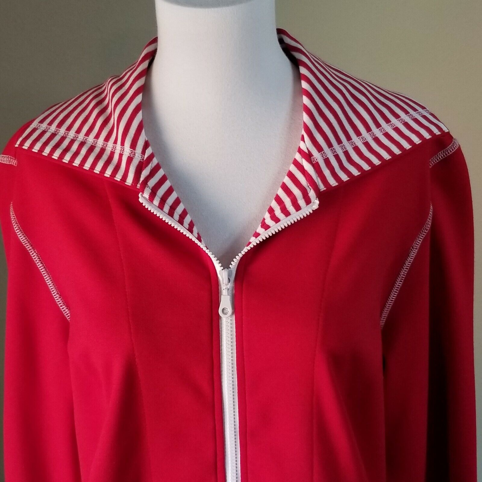 Picadilly Fashions Athletic Jacket Top Red White Small Activewear Stripe Zip Up - $15.00
