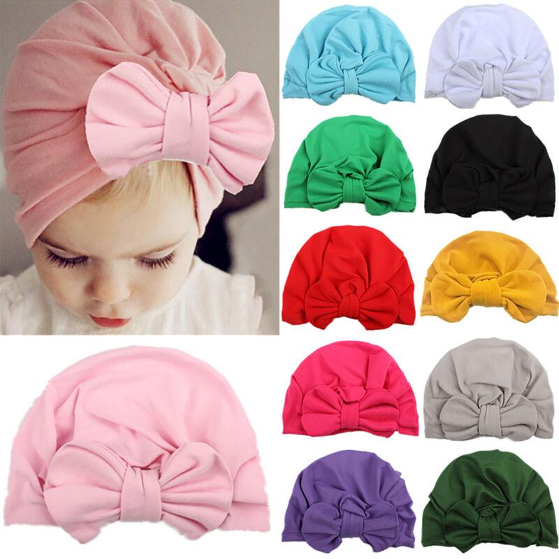Toddler Kids Baby Girls Boys Bowknot Headwrap Cap Turban Sof