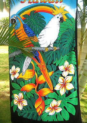 """Hawaiian Hawaii Beach / Pool / Bath Towel 60"""" x 32"""" ~ RAINBOW & TROPICAL PARROTS"""