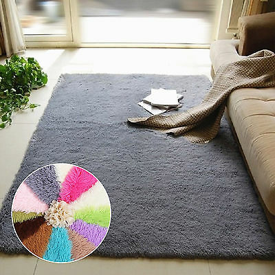 1pc Fluffy Rugs Anti-Skid Shaggy Area Dining Room Home Bedroom Carpet Floor Mats
