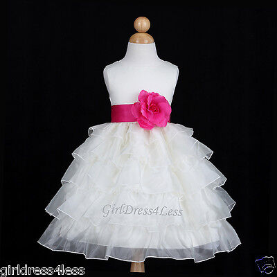 IVORY/FUCHSIA HOT PINK TIERED ORGANZA WEDDING FLOWER GIRL DRESS 12M 2 3/4 6 8 - Flower Girl Dresses Hot Pink