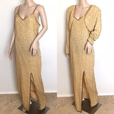 Vintage SCALA 2 Piece Gold Beaded Silk Long Gown Formal Evening Dress Size L
