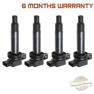 Set of 4 Ignition Coil on Plug Pack For Toyota Prius Echo Yaris Scion xA xB 1.5L