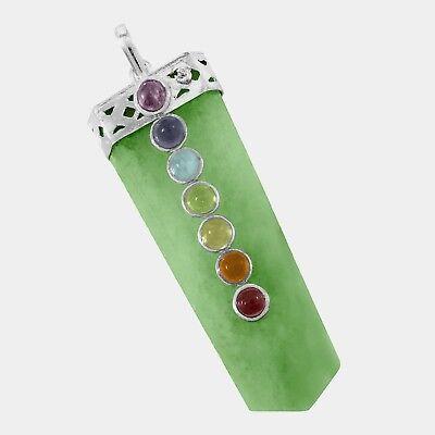 Green Jade 7 Chakra Crystal Pendant Necklace HANDMADE Heal Stone Reiki CHARGED  - Green Jade Crystal Pendant