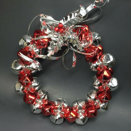 "Christmas Sleigh Bell Jingle Bells Wreath Large Heavy Duty Red Silver Metal 10"""