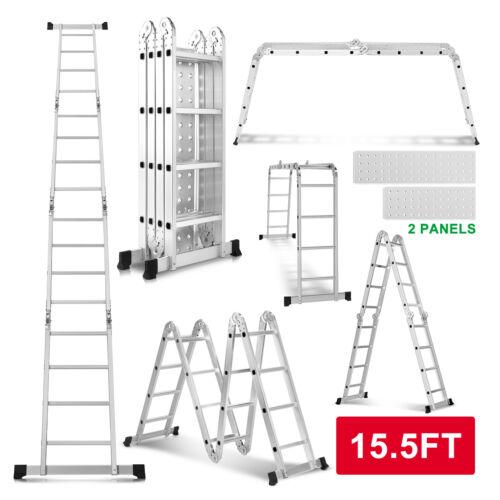 15.5FT Aluminum Multi Purpose Telescopic Ladder Extension Folding Garden Use