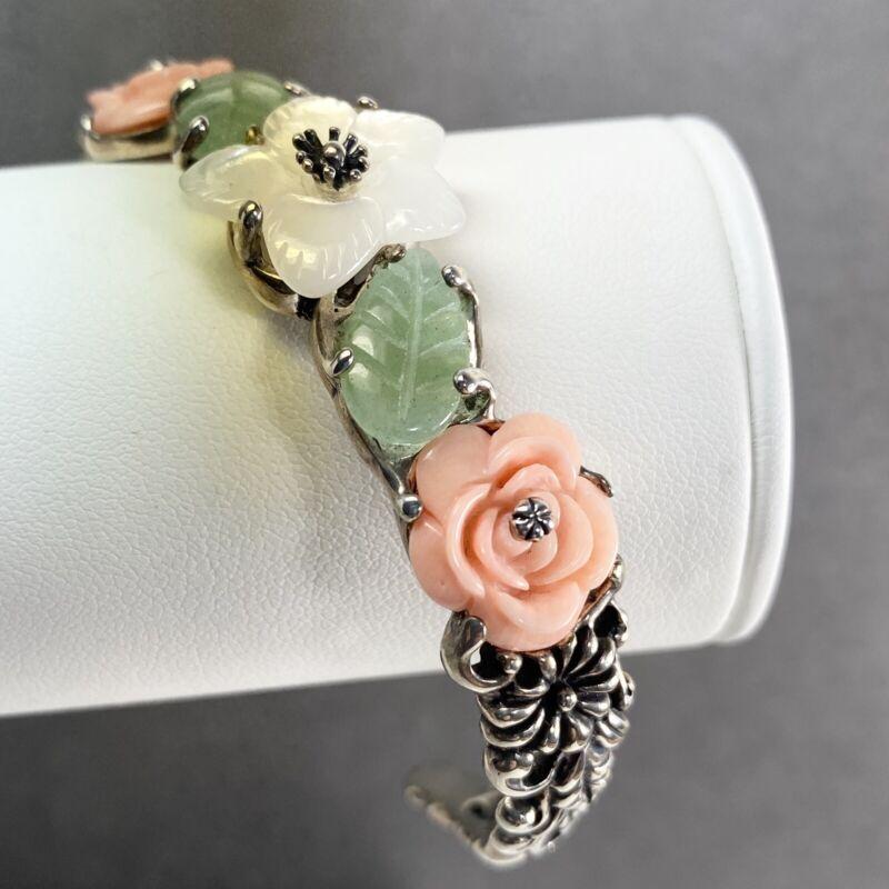CAROLYN POLLACK Sterling Silver Carved Flower Floral Cuff Bracelet