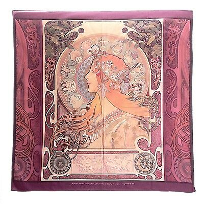 "Alphonse Mucha Zodiac 100% Cotton Purple Floral Hankerchief Scarf Bandanas 23"""
