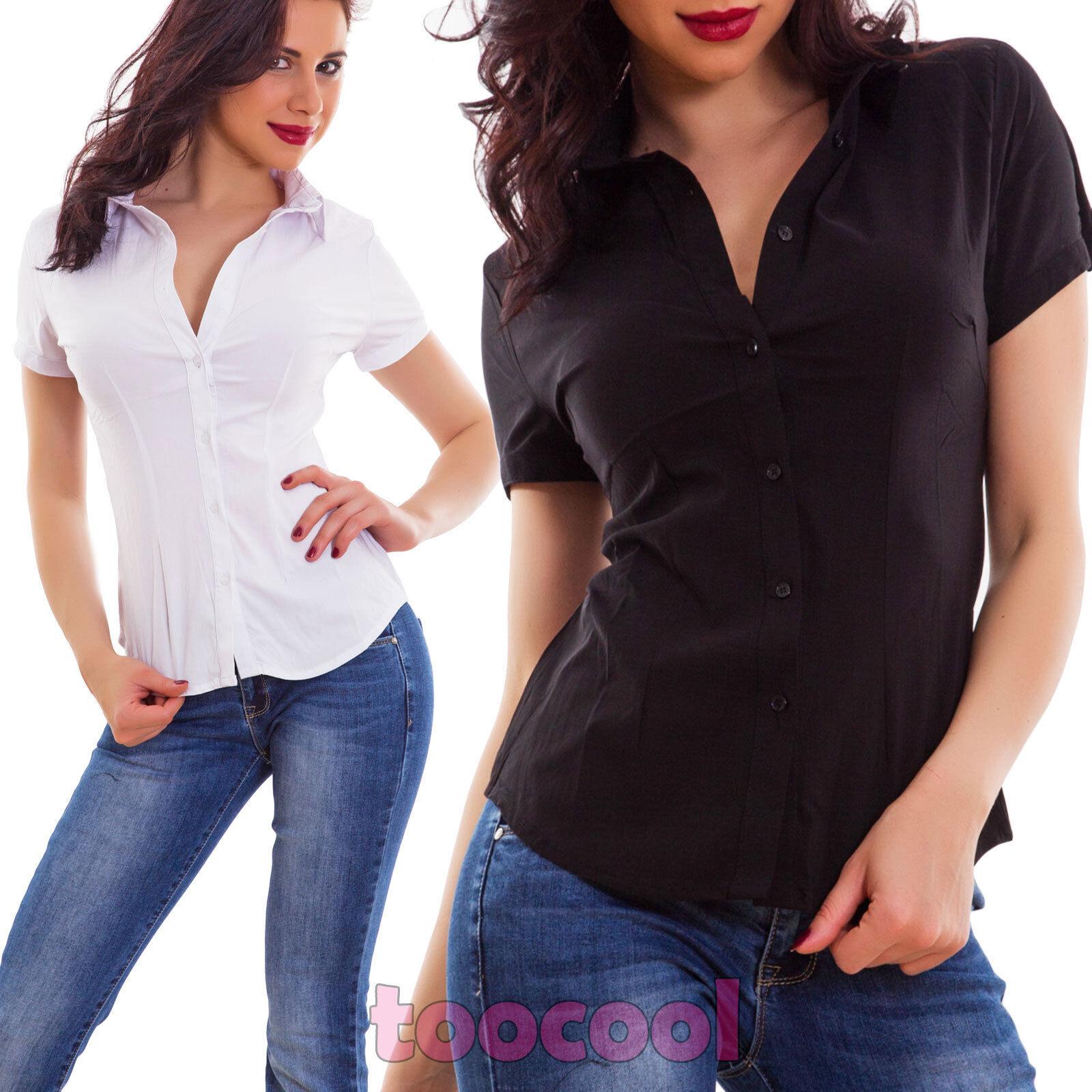 Camicia donna avvitata cotone maniche corte business elegante sfiancata 0332 2