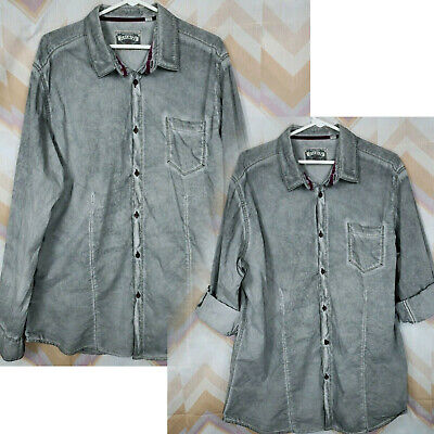JEREMIAH Sz XL washed distressed gray tab roll up sleeve button front shirt Tab Front Shirt