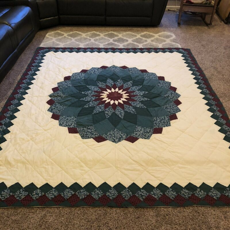 Beautiful Vintage Hand Quilted Giant Dahlia Quilt 98 X 87 king  Maroon Green