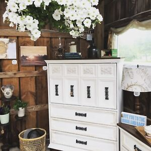 Vintage Hutch/ Armoire and Side Tables