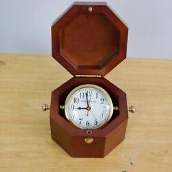 Howard Miller 645-187 Chronometer Maritime Table Alarm Clock Octagonal Box