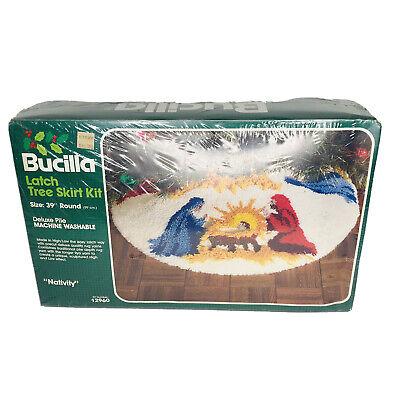 "Vintage Bucilla NATIVITY Christmas Tree Skirt Latch Hook Rug Kit #12960 New 39"""
