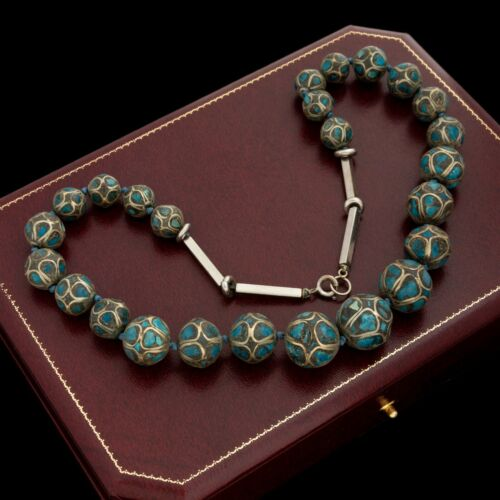 Antique Vintage Deco Sterling Silver Tibetan Turquoise Chip Inlay Necklace 73.6g