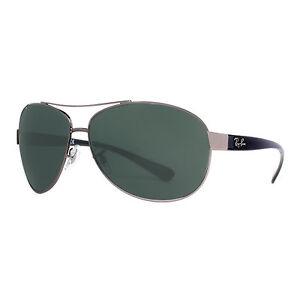 rayban 3386 bum3  Ray Ban RB 3386 004/71 Gunmetal Black/Green Classic Wrap Aviator Sunglasses  67mm