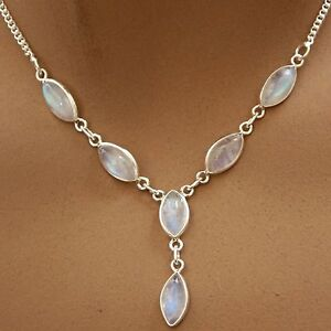MONDSTEIN-Collier, Kette Halskette ECHT SILBER-925 , Kette, Indien Schmuck