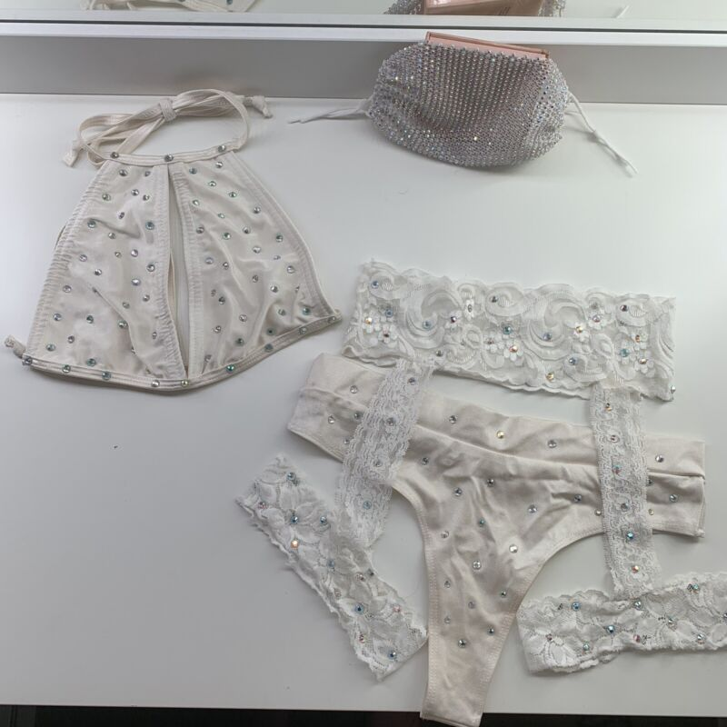 Creme White Rhinestone Lace Exotic Dancer Stripper Lingerie Outfit With Mask
