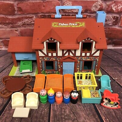 Vintage Fisher Price Little People Play Family House Brown Tudor #952 COMPLETE
