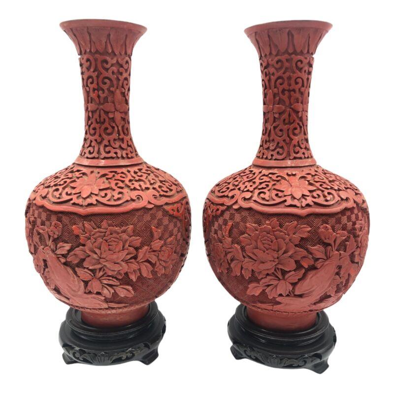 Pair Vintage Large Cinnabar Vase Deep CarvedLacquer Royal Blue Enamel Brass 60s