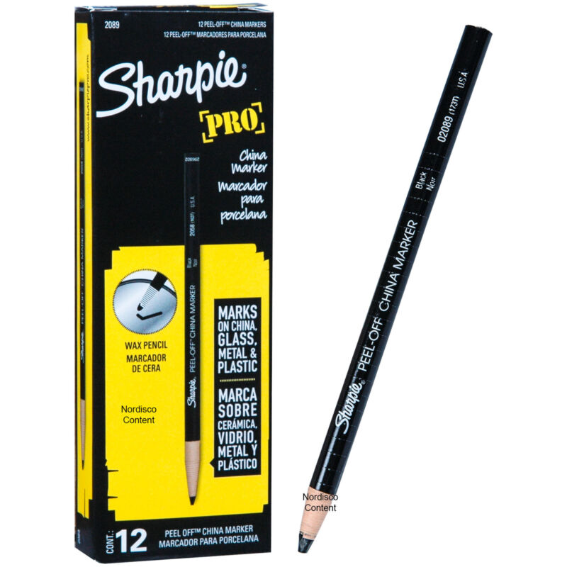 Sharpie Pro Black Peel Off China Marker, Grease Pencil, 02089, Box of 12