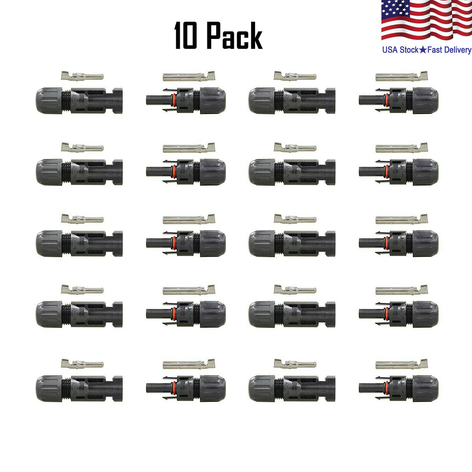 10 Pairs 30A Male Female Wire PV Solar Panel Cable Connector Set Waterproof Electrical Supplies