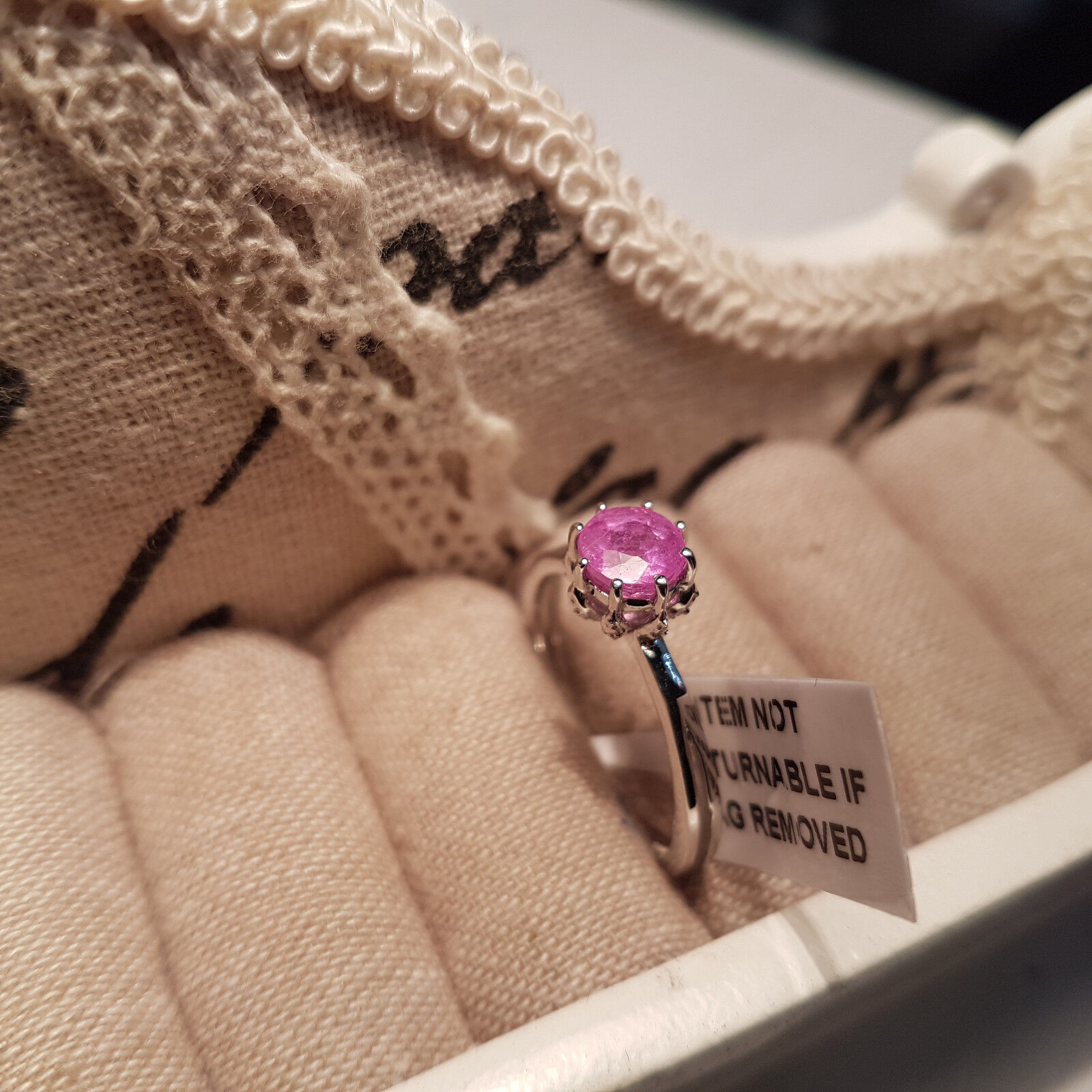 2.00 cts Pink Sapphire Solitaire Ring Sterling Silver