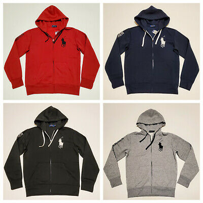 Men Polo Ralph Lauren Fleece Hoodie BIG PONY Soft Touch Cotton Jacket Sweatshirt