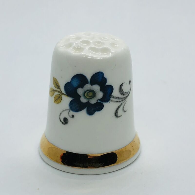 Beautiful Blue Floral Flower Sandford Fine Bone China Thimble - Made in England