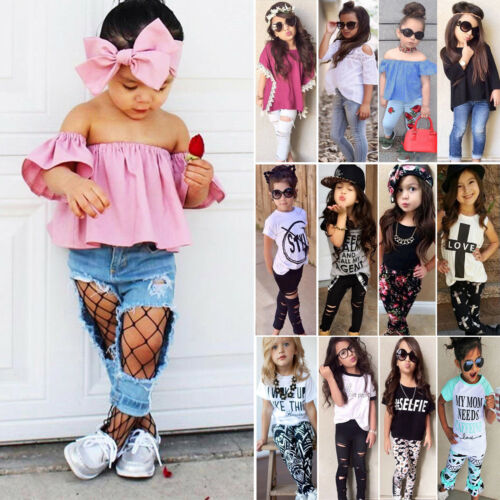 Kids Baby Girl Outfits Suit T-shirt Tops Long Pants Leggings