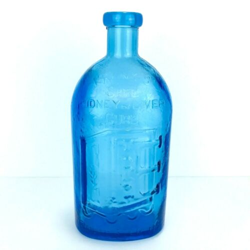 Vintage Wheaton Blue Pebbled Glass Bottle NJ Franks Safe Kidney & Liver Cure