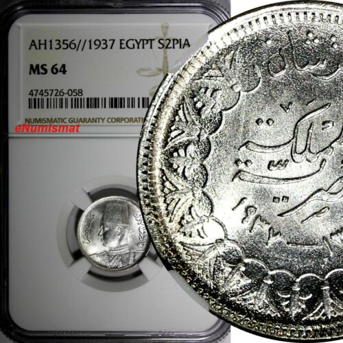 EGYPT Farouk Silver AH1356//1937 2 Piastres NGC MS64 GEM Mintage-500,000 KM# 365