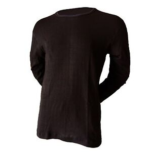 Men's Indera Mills Black Ribbed Polypropylene Thermal Base Layer Crew Top GRPT