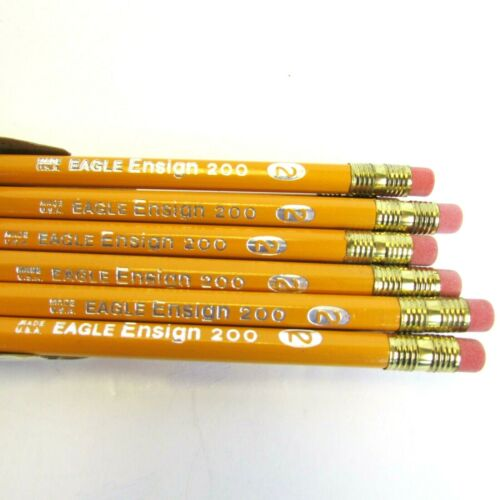 "Vintage Box Berol ""EAGLE ENSIGN 200"" Writing Pencils Made USA One Dozen No. 2"