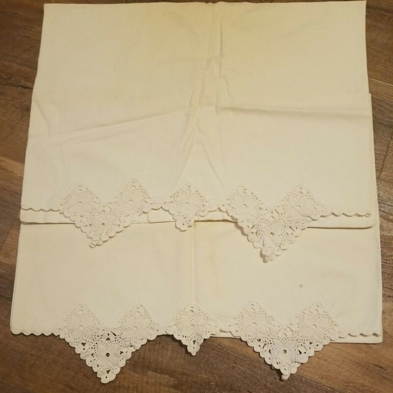 2 Vintage Pillowcase With Crochet Edge