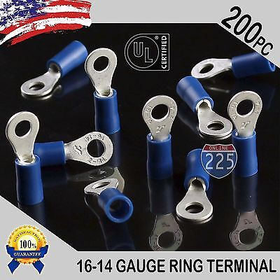 200 Pack 16-14 Gauge 6 Stud Insulated Vinyl Ring Terminals 100 Tin Copper Core
