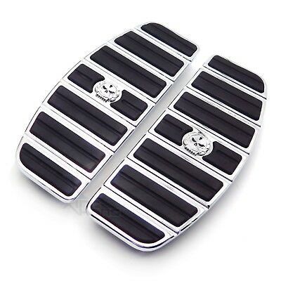 Motorcycle Chrome Skull Rider Footboard Insert Kit For 1980-up Harley Touring