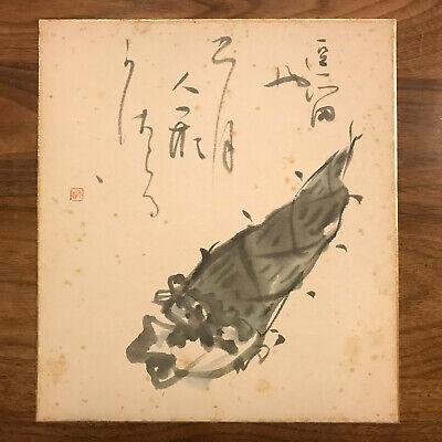 "JAPANESE VINTAGE WATERCOLOR PAINTINGS SHIKISHI NIHONGA ""bamboo shoots""19108"