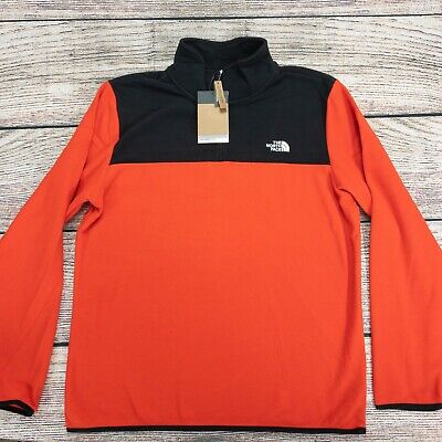 The North Face Men's 1/4 Zip Pullover Fleece Jacket Long Sleeve Red Black New
