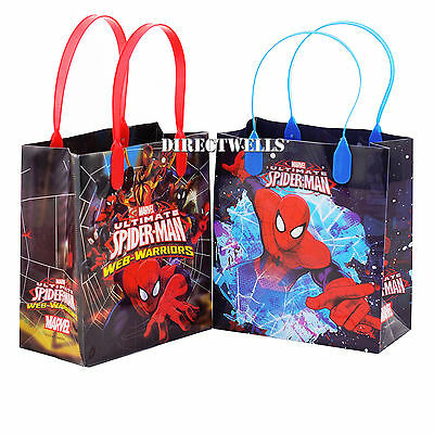 6 Pcs Spiderman Marvel Authentic Licensed Small Party Favor Goodie Gift Bags (Spiderman Party Bags)