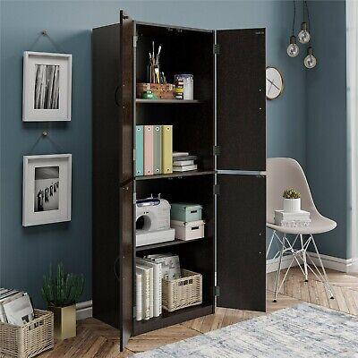 Kitchen Pantry Storage Cabinet Cupboard Organizer Wood Tall Shelves, Black