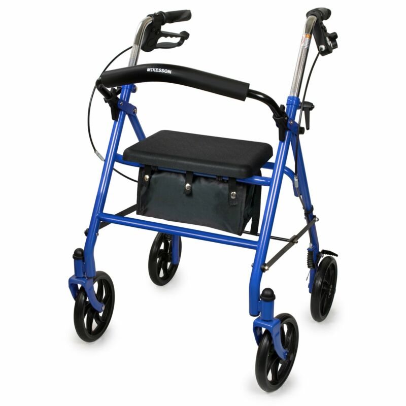 """McKesson Upright Rollator Walker 300 lbs. 31 to 35"""" Handle Height 146-10257BL-1"""