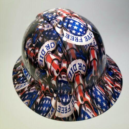 NEW FULL BRIM Hard Hat custom hydro dipped LIVE FREE OR DIE USA AMERICA sick 2